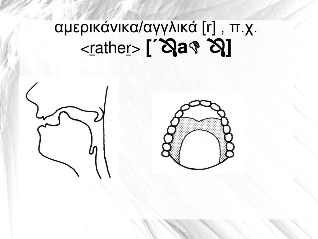 αμερικάνικα/αγγλικά [r] , π.χ. <rather> [΄a ]